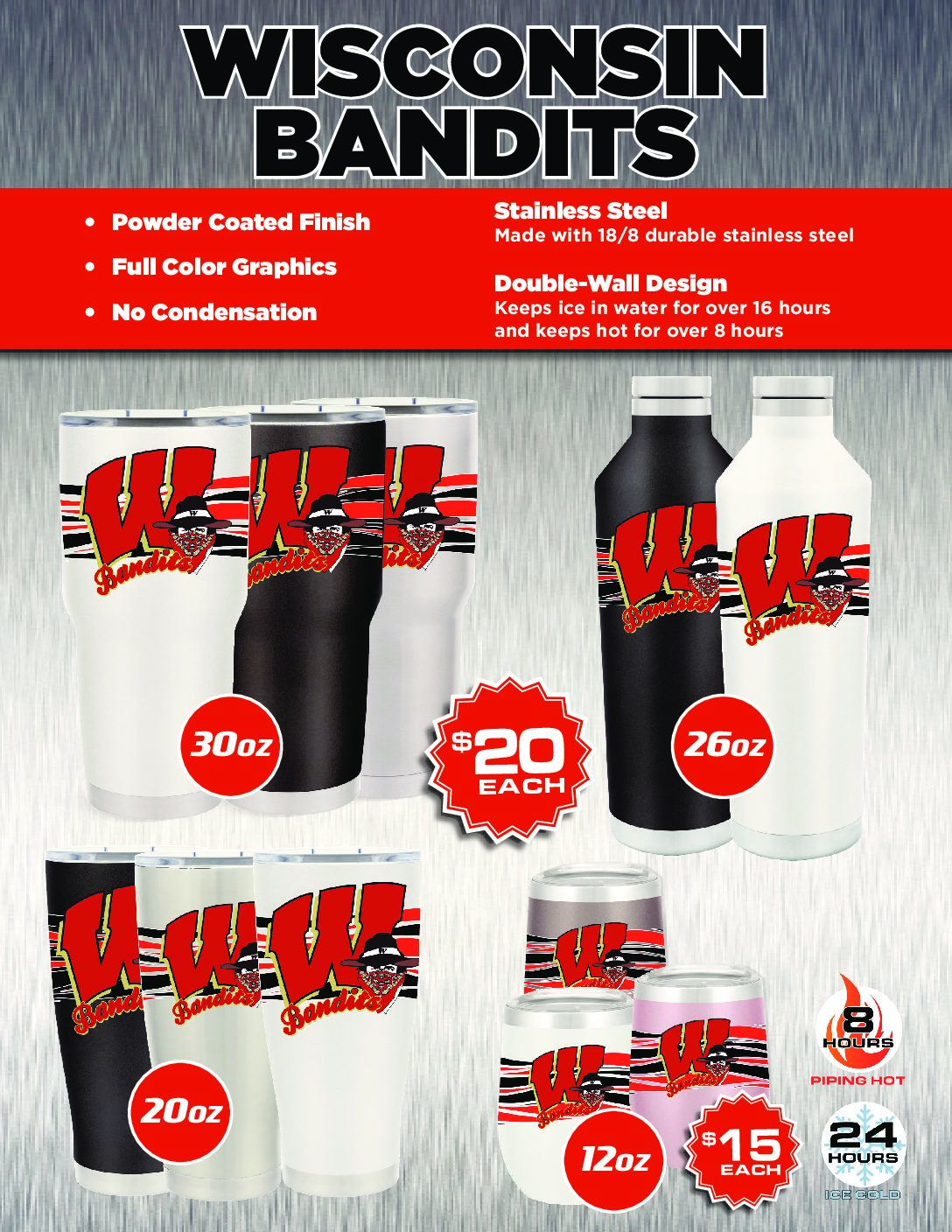 Bandit Tumblers & Cups For Sale!  Orders due Feb 2nd! See your Coach for an order form.